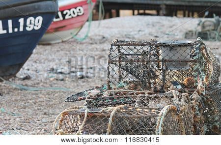 Wooden Fishing Boat On A Pebble Beach