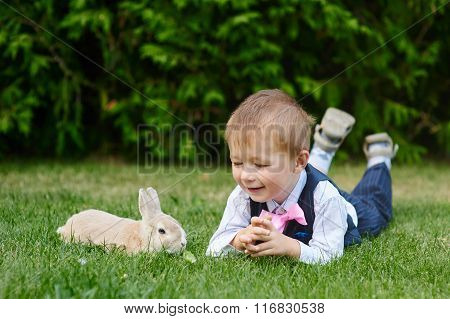 Little Boy Playing With A Rabbit On The Grass In The Park