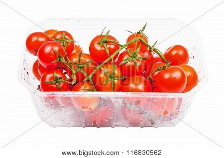 Cherry tomatoes in plastic container
