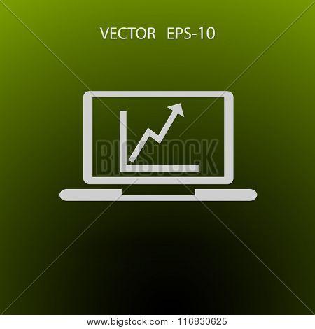 SEO icon - graph on a laptop