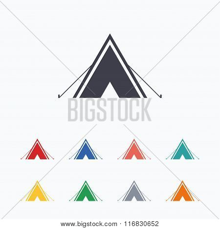 Tourist tent sign icon. Camping symbol.
