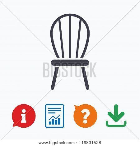 Chair sign icon. Modern furniture symbol.