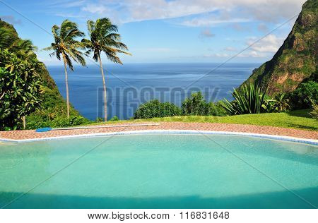 Pool On The Hilltop Of Piton Bay