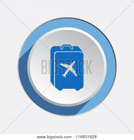Airport baggage icon.  Hand luggage for traveling. Info symbol. Blue sign on white-blue 3d button wi