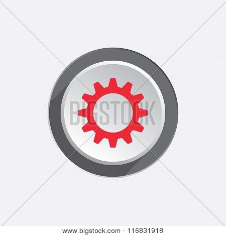 Gear icon. Cogwheel symbol. Red sign on round three-dimensional white-gray button with shadow. Vecto