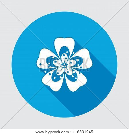 Primula flower icons. Spring flowers. Floral symbol. Round blue flat icon with long shadow. May be u