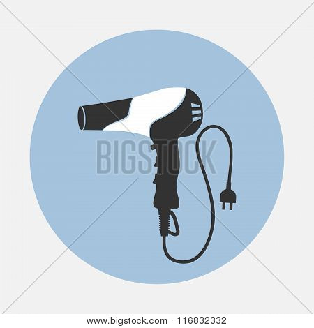 Professional blow hairdryer with two-pin plug and cord. Panda design. Modern colored sign on blue ro