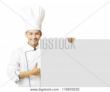 Young Chef With Thumb Up And Showing  Empty Board