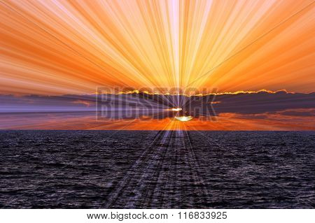 Ocean Sunset Sunrays