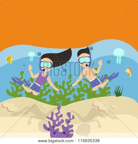 man woman couple snorkeling scuba diving under water sea coral reef