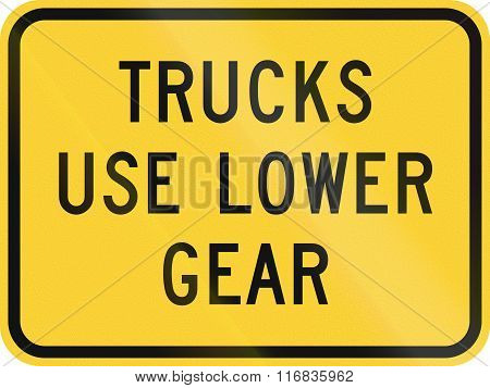 United States Mutcd Warning Road Sign - Trucks Use Lower Gear