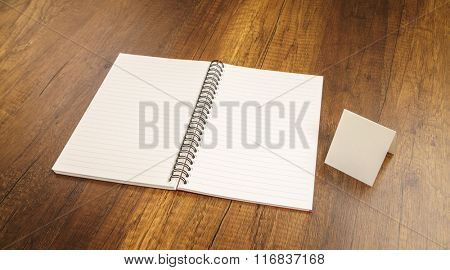 Note book on a wooden desk