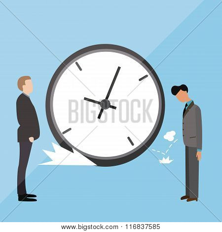 big clock late arrive at office boss angry blamed