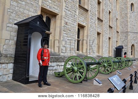 Tower Of London Beefeater And Cannons