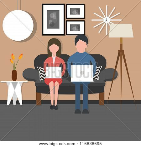 man woman couple bussy working on laptop sitting couch chair living room