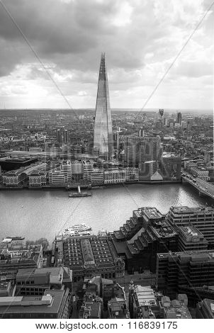 LONDON, UK - SEPTEMBER 17, 2015: City of London aerial view, Shard and river Thames. London panorama