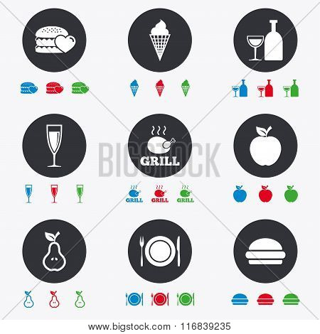 Food, drink icons. Alcohol and burger signs.
