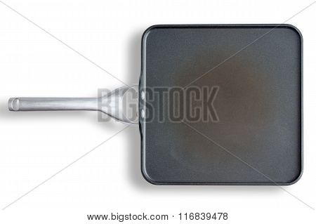 Non Stick Square Pan With Handle On White Surface