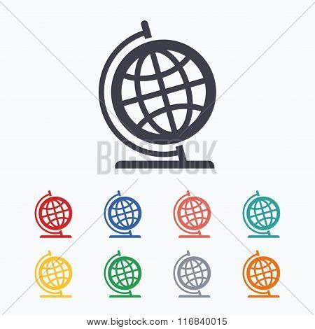 Globe sign icon. Geography symbol.