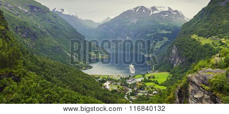 Norway Mountains And Fjord View - Geirangerfjord, Stranda, Norway