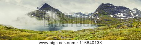 Panoramic View On Norway Mountain Landscape