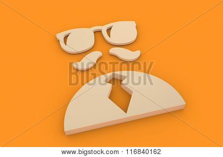 Businessman Torso 3D Icon. Sun glasses And Mustage