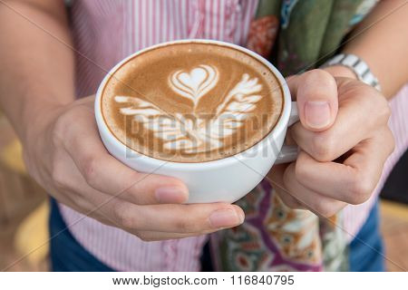 Woman Holding Cup Of Coffee, Close Up