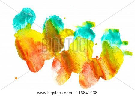 Watercolor Paint Abstract. Red Yellow Turquoise.
