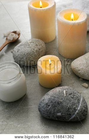 Aromatherapy. Candles and spa objects on the table