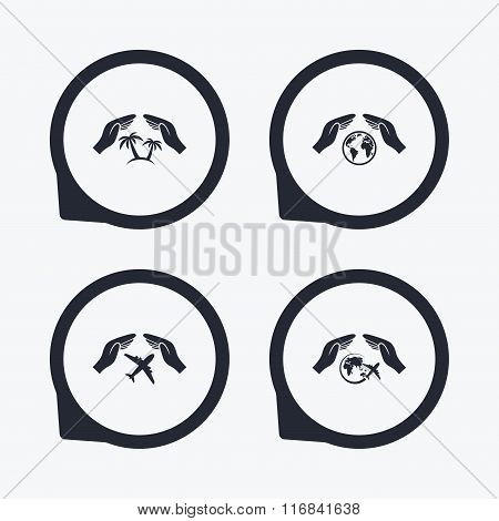 Hands insurance icons. Travel trip flights.
