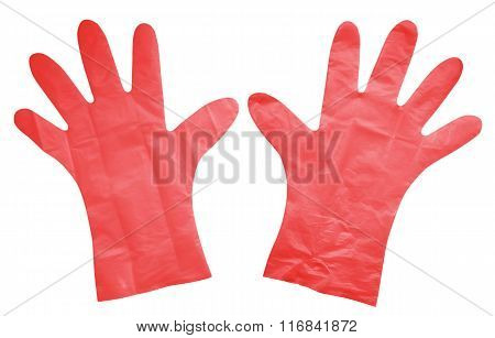 Plastic Gloves Isolated - Red