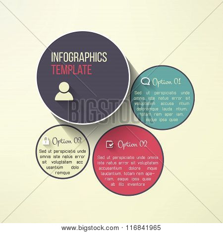 Vector circle infographic boards in modern flat design. Web page layout template