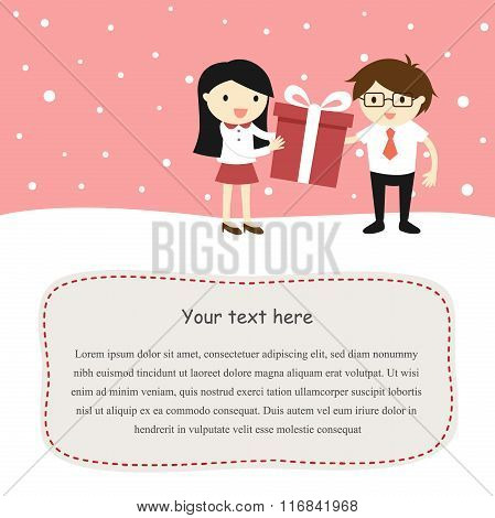 Valentine card, a girl is giving a gift box to a boy. Flat style cartoon in Valentine festival