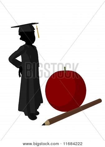 African American School Girl Silhouette Illustration