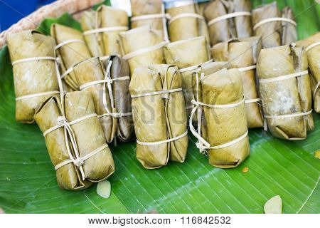 The Streamed Sticky Rice Wrapped By Banana Leaves ,thai Dessert
