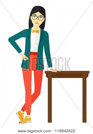 Woman leaning on table.
