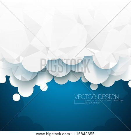triangular polygons on paper clouds material background design