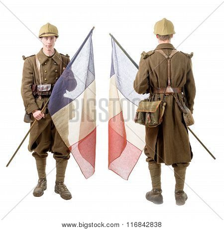 40S French Soldier With A Flag, Back And Front View, Isolated On A White Background