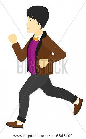 Happy man jogging.