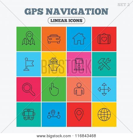GPS navigation icon. Car, Bus and Ship transport