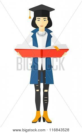 Woman in graduation cap holding book.