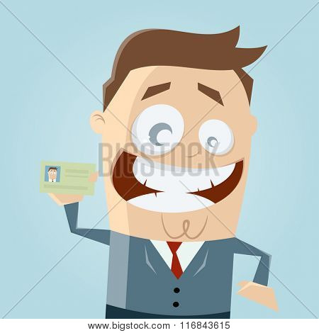 funny businessman with identity card