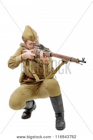 Russian Girl Soldier. Ww2 Reenacting Isolated On White