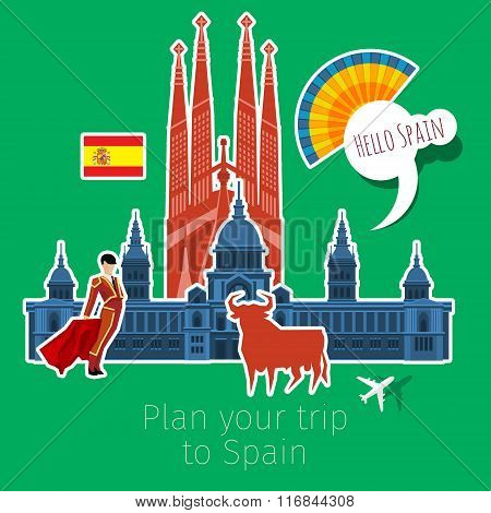Concept of travel or studying Spanish .