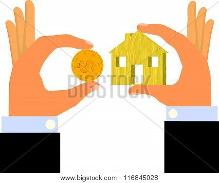 Cheap Affordable Housing (Isolated on white background)