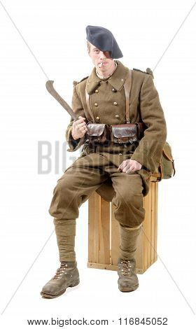 French Soldier 40S Smoke A Cigarette On The White Background