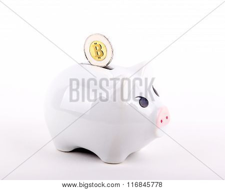 Conceptual Bitcoin In A Piggy Bank