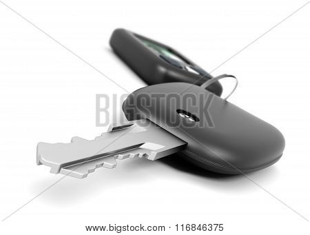 Car key with remote control closeup on white background. 3d rend