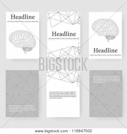 Abstract Creative concept vector background of the human brain. Polygonal design style letterhead