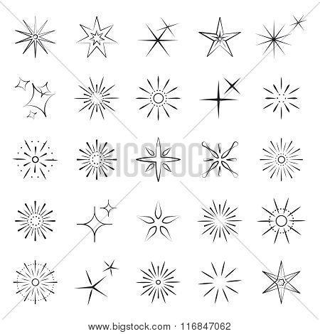 Sparkles, starbursts and fireworks icons